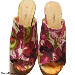 Call It Spring Floral Cork Heel Sandals